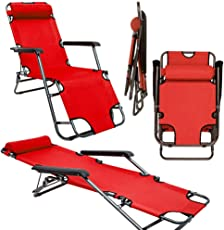 AMANKA Campingstuhl Liegestuhl Freizeitliege Sonnenliege Strandliege Campingliege Klappliege Liege 153cm Rot