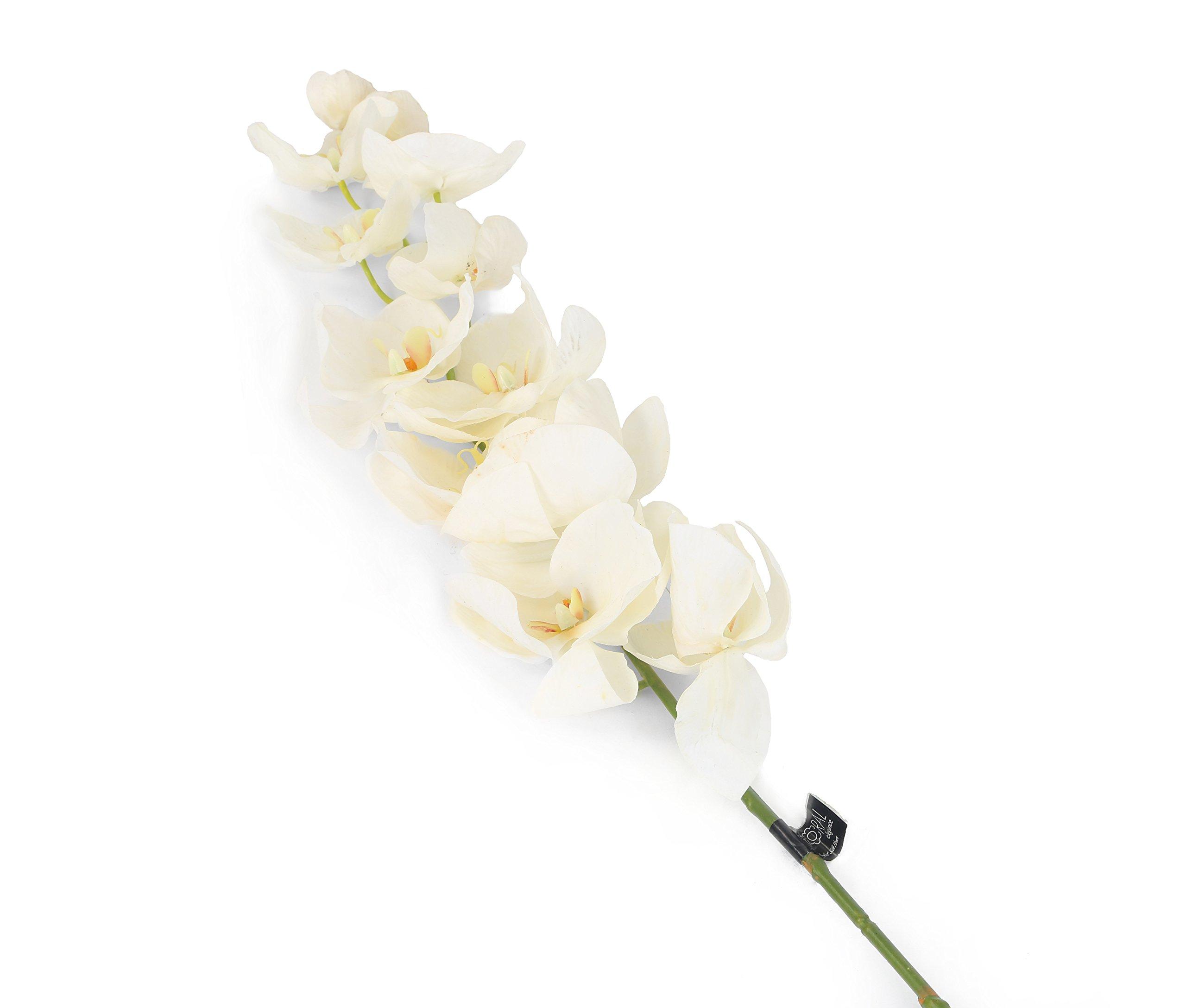 Floral Elegance 109cm Artificiales con Tallo único de orquídeas Artificiales, Blanco
