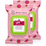 Yes To Watermelon Light Hydration Super Fresh Facial Wipes 40 Ct, 2 Pack l All Skin Types l Refresh + Cleanse l Vegan l…