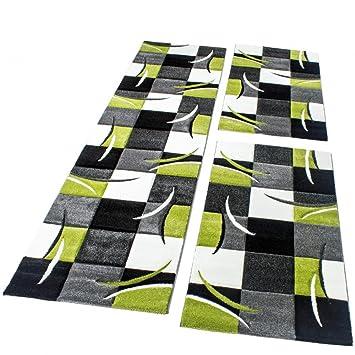 Bettumrandung Läufer Teppich Modern Karo Grün Grau Schwarz Weiss ...