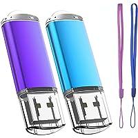 Lot de 2 Cle USB 64 Go Cléf USB 2.0 Flash Drive Stockage Disque Mémoire Stick Pendrive avec Cordes (Bleu/Violet 64GB)
