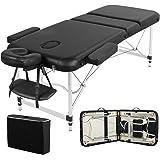 Yaheetech Mobiele massage-ligstoel, inklapbaar, therapiebed, draagbaar massagebed, lichte massagetafel, 3 zones, ergonomische