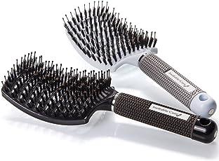 Haarbürste mit Wildschweinborsten–Gebogen und Volumen schaffende Eberborsten Haarentwirrende Bürste | Detangling Haarbürste für Frauen – Ventbürste Geeignet für dickes, dünnes, lockiges & nasse Haare