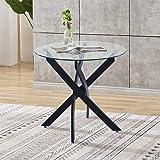 GOLDFAN Table de salle à manger ronde moderne en verre transparent avec pieds en métal pour salle à manger ou cuisine Noir (t