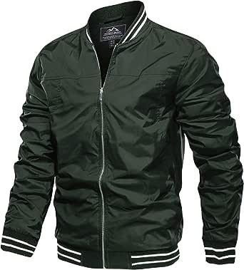MAGCOMSEN Mens Summer Casual Bomber Jacket Lightweight Varsity Baseball Jackets with Pockets Full Zip Windbreaker