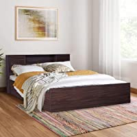 HomeTown Bolton Engineered Wood Hydraulic Storage King Size Bed in Walnut Colour