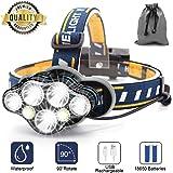 Stirnlampe,7 LED 17000 Lumen Kopflampe,Superheller USB Wiederaufladbare Wasserdicht Leichtgewichts Stirnleuchte für Camping,Fischen,Laufen,Joggen,Wandern,Lesen,Arbeiten