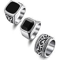 Finrezio 3 pezzi Anelli in acciaio inossidabile per uomo Set di anelli a fascia larga per motociclisti vintage Misura…