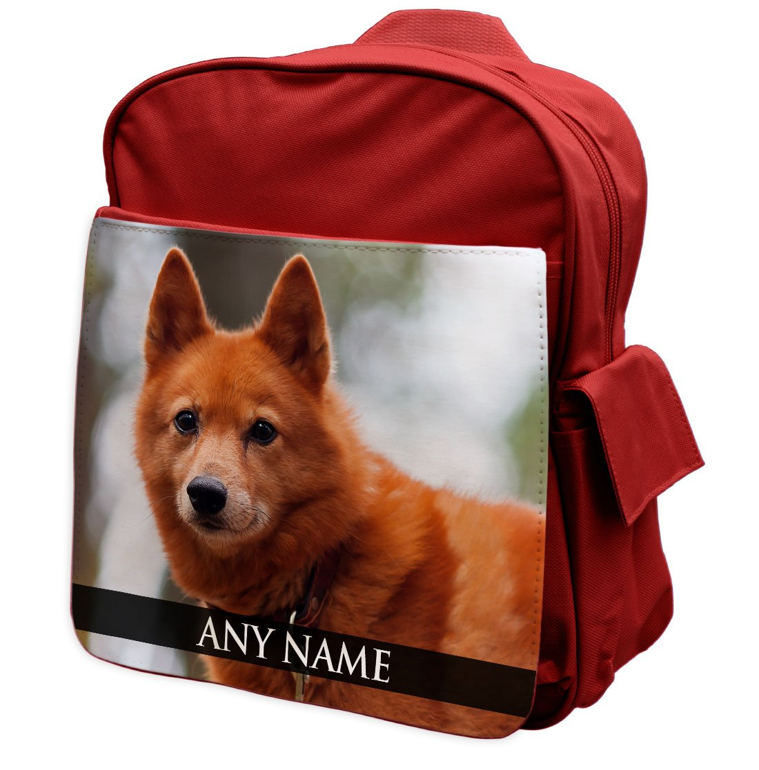 Personalised Finnish Spitz Dog Animal RED Rucksack Backpack 120