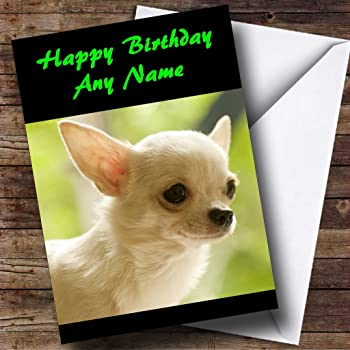 Chihuahua Dog Personalised Birthday Card Amazon Office Products