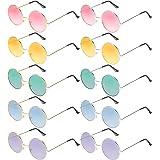Blulu 10 Paires Lunettes de Soleil Rondes Hippie Lunettes de Soleil Rondes Multicolores de Style John des Années 60