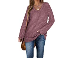 Aokosor Womens Long Sleeve Tops V Neck Jumpers Solid Color Sweatshirts