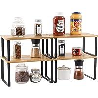 Lot de 4 étagères de rangement en métal pour placard de cuisine, Bambou Etagère Vaisselle, Organisation placard cuisine…