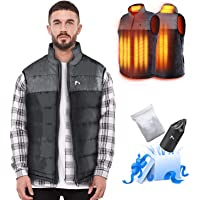 AFUNSO Heated Vest for Men/Women, Electric Heating Coat Dual Independent Temperature Control Extra Collar Heated Hiking…