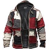 SHOPOHOLIC FASHION Mens Winter Patch Wool Hippie Jacket