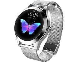 LUNIQUESHOP Round Smartwatch, Montre Intelligente Homme Femme avec Fréquence Cardiaque, Bracelet connecté, Podometre, Tactile