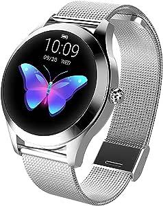LUNIQUESHOP Round Smartwatch, Montre Intelligente Homme Femme avec Fréquence Cardiaque, Bracelet connecté, Podometre, Tactile, écran OLED, Suivi de Performance, Etanche, Android, iOS