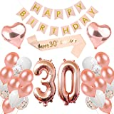 MMTX 30th Birthday Decorations Gifts for Girls Rose Gold Decorations Party Balloon Set for Women with Happy Birthday Banner 30 Printed Confetti Balloons Plus 10g Table Confetti Foil Tablecloth