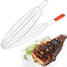Pink Pari Stainless Steel Fish Grill Net Basket (Silver, 15x15x12cm)