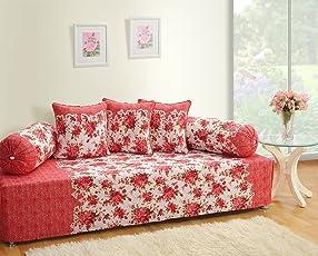 Swayam Shades of India 180 TC 6 Piece Cotton Diwan Set - Red