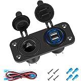 Thlevel USB-autolader, USB-stopcontact voor in een voertuig, 5 V en 4,2 A, voor snel opladen, met led-display, waterdicht en