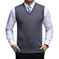 Yingqible Classic Mens Gilet V-Neck Sleeveless Jumper Vest Knitwear Cardigans Knitted Waistcoat Sweater Tank Tops