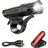 Led-fietsverlichting, oplaadbaar, USB, 400 lumen, super helder, fietslamp voor en achter, 4 verlichtingsmodi, waterdicht IPX4