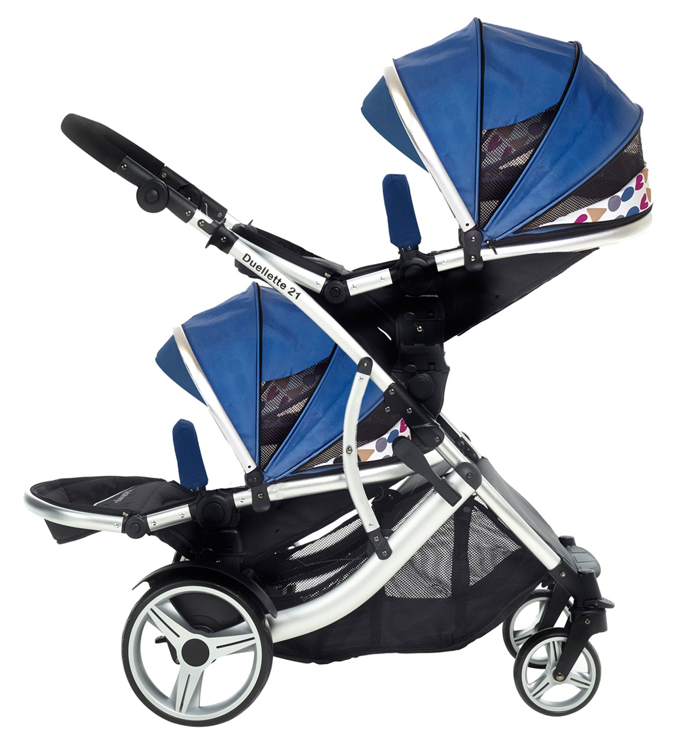 Kids Kargo Duellette 21 BS Travel System Pram Double Pushchair (Blue) Kids Kargo Suitability Newborn Twins (if used with car seats) or Newborn/toddler. Various seat positions. Both seats can face mum (ideal for twins) Accommodates 1 or 2 car seats and compatible with Kids Kargo safety pod car seat. Adapters available for use with maxi cosi 1