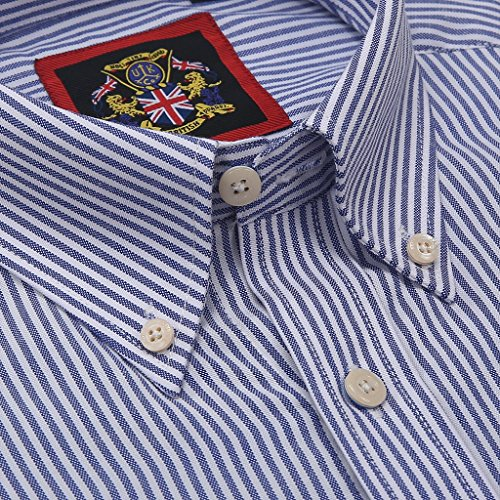 Janeo British Apparel di marca, Classic Windsor belle uomo camicia a righe, singolo e doppio polsino manica – Janeo mens Shirts Oxford Blue Denim (Oxford Casual)