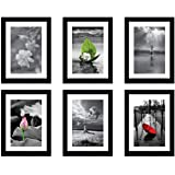 Amazon Brand - Solimo Collage Set of 6 Black Photo Frames ( 6 X 8 Inch - 6 )
