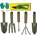 Bulfyss 7 Pieces Gardening Tools Seed Handheld Shovel Rake Spade Trowel with Pruning Shear and Gloves (Ergonomic Handles…