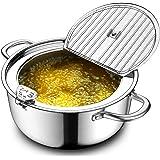 Chihee Friteuse avec thermomètre Pot à frire en acier inoxydable 304 Marmite non revêtue avec couvercle Déviation de bec de c