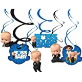 Party Propz Paper Boss Baby Theme spiral hangers, Multicolour, pack of 6 pieces