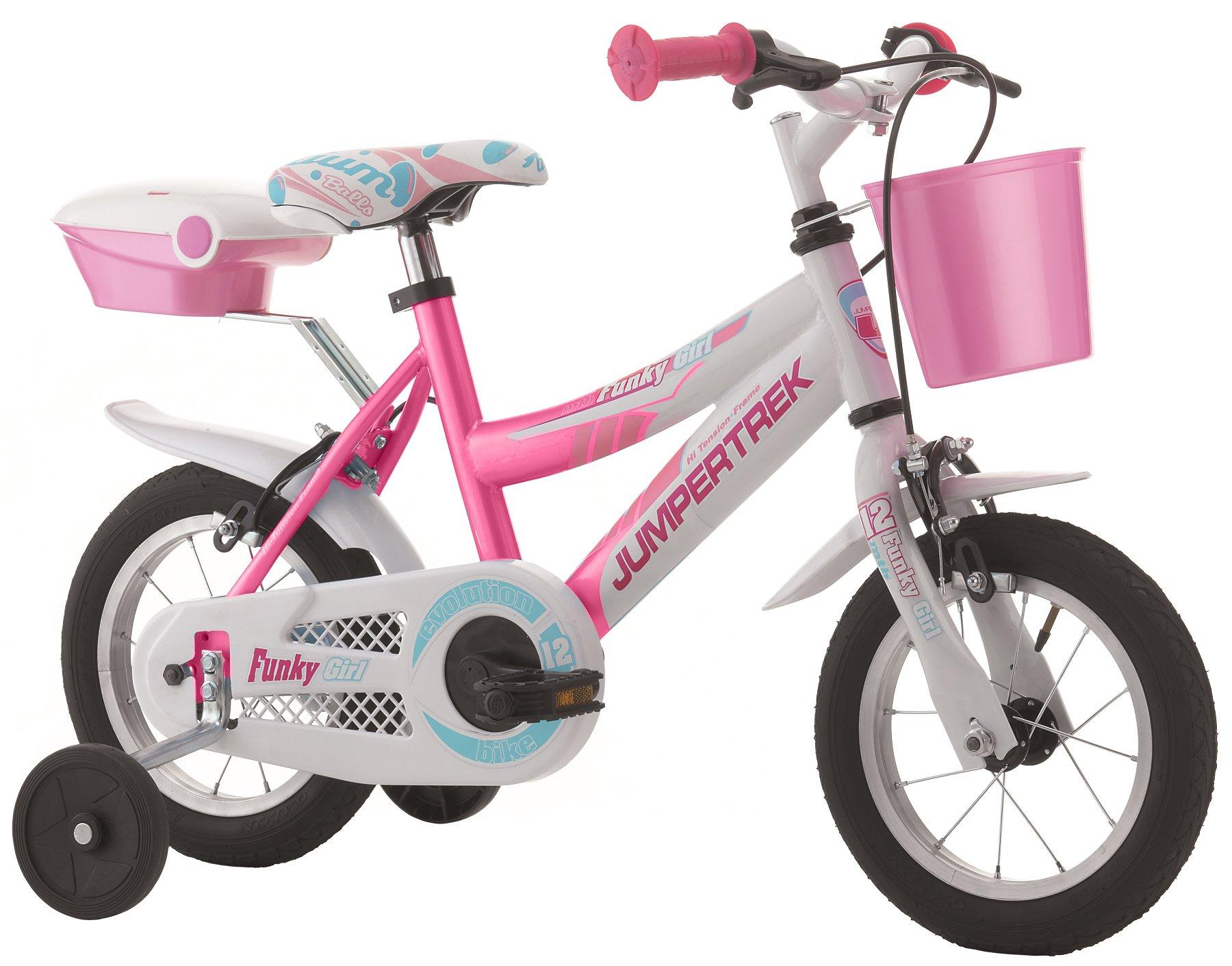 Bicicletta Cicli Cinzia Funky da bambina, telaio in acciaio, ruote da 12, con ruotine di stabilit