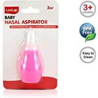 LuvLap Baby Aspirator, Nose Cleaner with Soft Silicone Tip, BPA Free, Pink