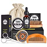 Beard Grooming Kit for Men Care, Beard Brush, Beard Comb, Mustache and Beard Balm Butter Wax, Barber Scissors, Magic Makeup M