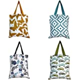 Dekor World Premium Cotton Printed Tote Jhola Bags (Pack of 4 Pc)