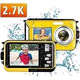 Macchina Fotografica Subacquea Full HD 2.7K 48MP Fotocamera Subacquea Digitale per fare snorkeling Zoom digitale 16X Fotocamera Subacquea Schermo doppio per selfie