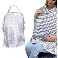 Boerni Large Nursing Cover, Breathable Breastfeeding Cover, Soft Breastfeeding Cover up for Full Privacy Breastfeeding Protection… (Grey)