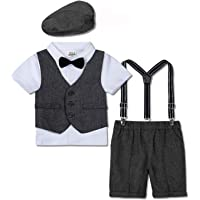 mintgreen 4pcs Baby Boys Suit Set Waistcoat + Shirt with Bowtie + Pants with Supenders+ Beret Hat, 1-4 Years