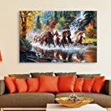 Inephos Cotton and Wood 7 Horses Running Vastu Framed Painting, Multicolour, Abstract, Modern and Religious, 85 x 55 cm