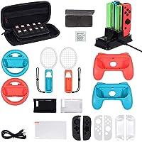 LiNKFOR 16 In 1 Kit di Accessori per Nintendo Switch Volante Dock di Ricarica Racchetta da Tennis Impugnature per Joycon…