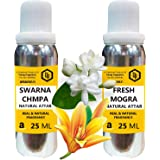 Parag Fragrances Real Mogra & Swarna Champa Attar Each 25ml Total 50ml Attar (Limited Time Offer)  Alcohol Free Attar Best At