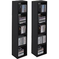 IDIMEX Etagères modulables Musique pour CD et DVD, Lot de 2 Meubles de Rangement en Colonne avec 10 Compartiments, en…