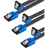 SATA Cable III, Benfei 3 Pack SATA Cable III 6Gbps 90 Degree Right Angle with Locking Latch 18 Inch for SATA HDD, SSD, CD Dri