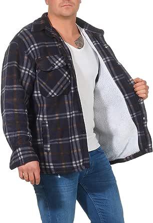 Homme Taille Plus Lourd Polaire Chemise Lumberjack Sherpa Doublé Fermeture Éclair Carreaux Hiver Top