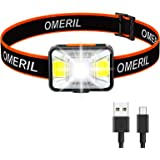 OMERIL Linterna Frontal LED USB Recargable, Linterna Cabeza Muy Brillante, 5 Modos de Luz (Blanco y Rojo), IPX5 Impermeable,