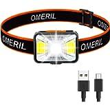 OMERIL Lampada Frontale LED, Lampada da Testa Impermeabile IPX5 Torcia Frontale USB Ricaricabile con 5 modalità di…