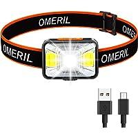 OMERIL Lampada Frontale LED, USB Ricaricabile Torcia Frontale con 5 Modalità di Illuminazione, Luce da Testa IPX5…