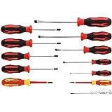 GEDORE Rode schroevendraaierset 12-delig, schroevendraaierset (VDE) sleuf/kruiskop, fasetester, gereedschap, R38002012